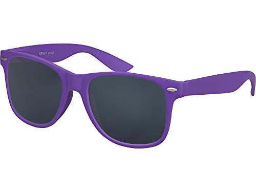 Balinco Hochwertige Nerd Sonnenbrille Rubber im Wayfarer Stil Retro Vintage Unisex Brille mit Federscharnier - 96 verschiedene Farben/Modelle wählbar (Lila - Smoke)