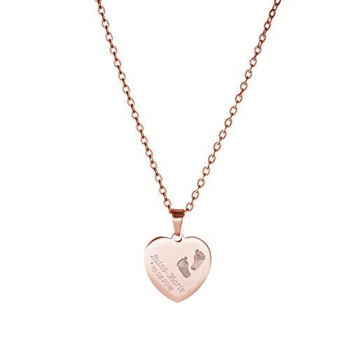 Gravado Halskette aus Roségold-Edelstahl mit Herz Anhänger - Gravur mit Kinder Füßchen - Personalisiert mit Namen und Datum - Gravur Halskette Mit