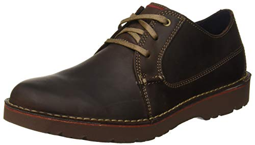 Clarks Vargo Plain, Zapatos de Cordones Derby para Hombre, Marrón (Dark Brown Leather), 43 EU
