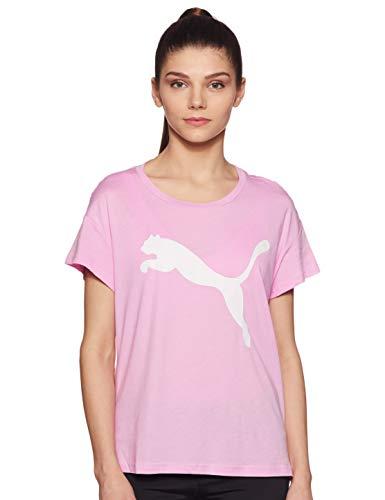 Cat Damen Rosa T-shirt (Puma Damen Active Logo Tee T-shirt, rosa(Pale Pink), L)