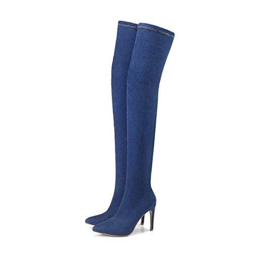 DEED Women 'S Kniestiefel Einfache Spitze Stretch-Denim-Stiefel,36 EU,Nblue -