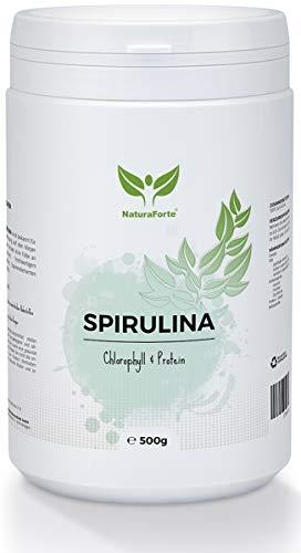 NaturaForte Espirulina Powder 500 g, puro, vegano, sin aditivos, alimentos crudos, clorofila, hierro, potasio, proteínas y magnesio