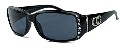 Schmale Damen Sonnenbrille Strass Glitzersteine Designer Look GC88 (Schwarz)