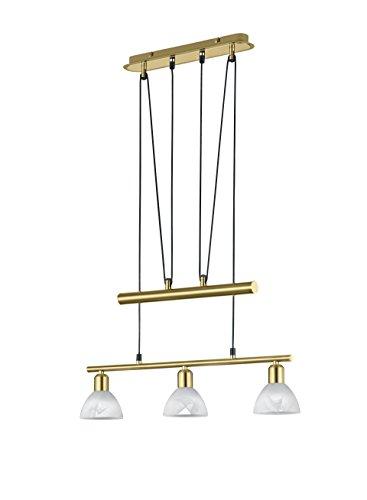 Trio Leuchten LED-JoJo-Pendelleuchte Levisto in Messing matt, Glas alabasterfarbig weiß 371010308