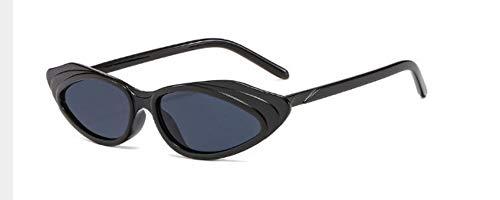 ZJMIYJ Sonnenbrillen  Crystal Cat Eye Sonnenbrille Frauen Streifen Sonnenbrille Männer Frauen Brillen mit kleinem Rahmen schwarz