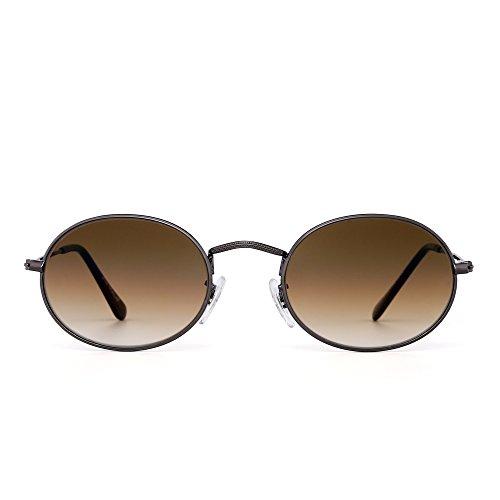 Retro Klein Rund Gradient Sonnenbrille Klassisch Metall Glas Linse Schatten Damen Herren(Gunmetal/Gradient Braun)