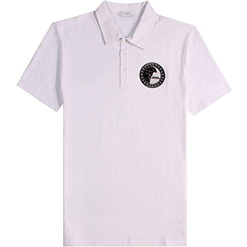 Versace Kollektion halb Medusa Poloshirt schwarz Large White