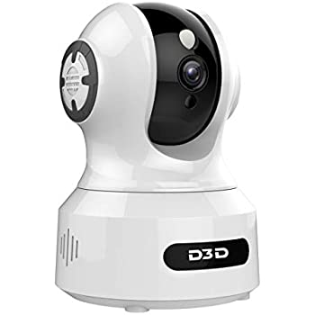 D3D 826 (1920x1080P) 2 0MP Alexa Enabled   Face Detection   Voice Detection   Smart Tracking   WiFi Wireless IP Night Vision Home Security CCTV Camera System with Mobile connectivity   White & Black
