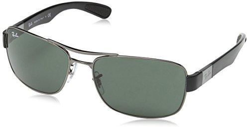 Ray Ban Unisex Sonnenbrille RB3522, Grau (Gestell: Gunmetal, Gläser: Grün Klassisch 004/71), X-Large (Herstellergröße: 61)