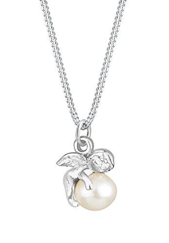Elli Damen Schmuck Halskette Kette mit Anhänger Engel Kugel Süßwasserzuchtperle Silber 925 Länge 45 cm