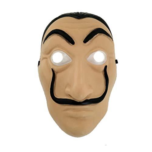 HUPLUE Máscara para Cosplay de Halloween Salvador Dali Original La casa de Papel, de PVC, máscara de Dinero, con película Realista, Large