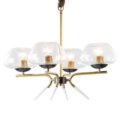 C-L Lampe Pendelleuchten Kupfer Glas Kronleuchter - Home Wohnzimmer Schlafzimmer American Minimalist Deckenleuchter, Weißes Licht -