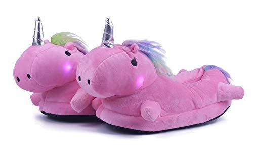 Pantofole unicorno led luminose peluche animali invernali calde ciabatte per donna e bambini imbottitura calda tessuto di flanella scarpe al coperto regalo di compleanno halloween taglia eu 34-41