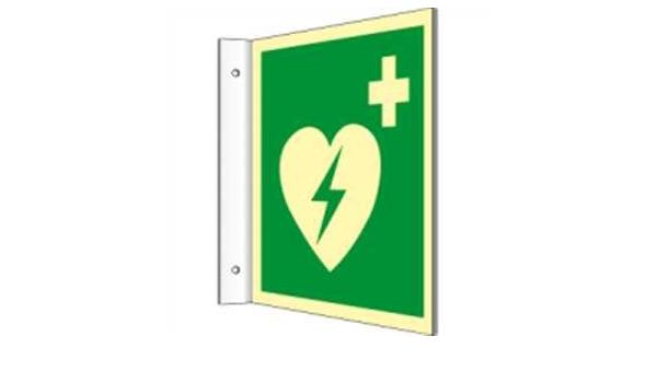 Fahnenschild Automatisierter Externer Defibrillator Aed Highlight Pvc 20 X 20cm Mit 2 Bohrungen à 3 Mm Ø Leuchtdichte Highlight 48 Mcd M Gemäß Iso 7010 E010 Baumarkt