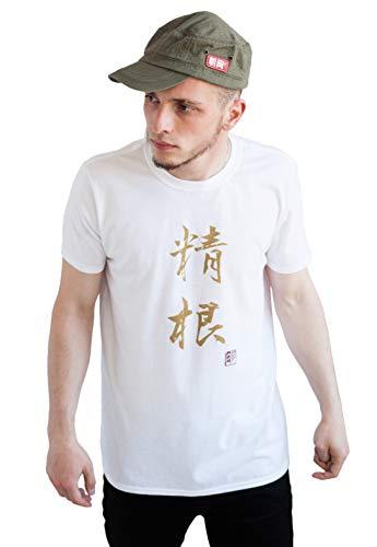 Strand Clothing Japonais pour Homme - Seikon/détermination - Calligraphie Japonaise Imprimé T-Shirt - Blanc - Blanc - Moyen