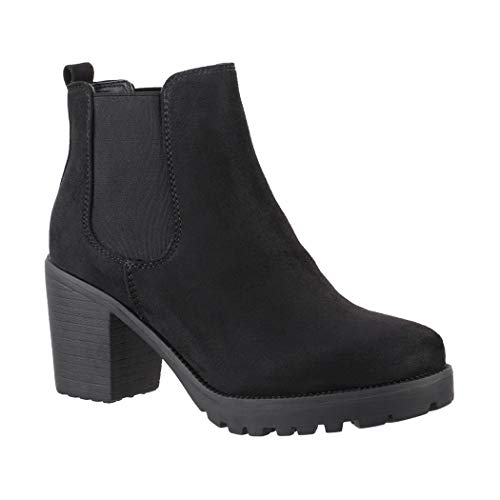 Elara Damen Stiefelette | Bequeme Ankle Boots | Chunkyrayan KA523-1sl Black-39