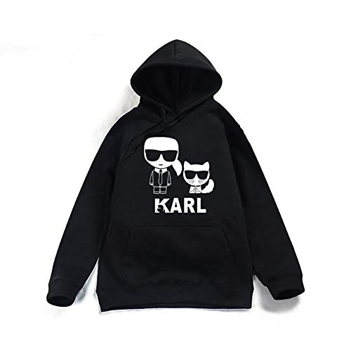 DHXYY Karl Lagerfeld Hoodie Sweatshirt Sport Sweater Jugend Sweatshirt Unisex Sweatshirt Freizeit Sweatshirt,Schwarz,XXL