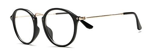 Outray Vintage Retro redonda transparente lente gafas negro negro Talla única