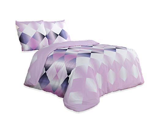 Buymax - Bettwäsche Set mit Einem Bettbezug und Zwei Kopfkissenbezügen Reißverschluss, 200x220 cm, Flieder Lila