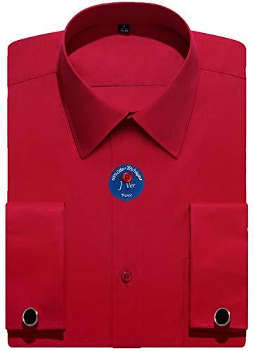 J.VER Herren Business Normale Passform Hemden Französische Manschette mit Metall-Manschettenknöpfen Lange Ärmel - Farbe:Rot, Größe:DE 38 - Ärmellänge 84 cm -