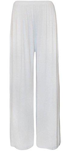 Islander Fashions Womens Wide Leg Plain Pantaloni a zampa svasata Ladies Fancy Party Wear Baggy Palazzo Pants S / XXL White