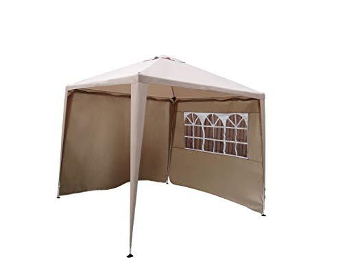 Cenador Carpa Gazebo Pavilion | 270 x 270 cm (2,7 x 2,7 m) | Beige/Arena | sorara | W/paredes | 31 kg (protección UV 50 +) poliéster | evento al aire libre Camping jardín refugio fácil hasta