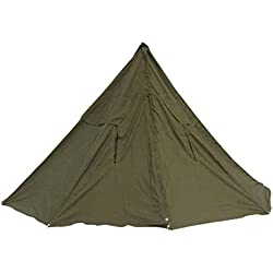 Tente de l'armée polonaise - Toile en coton - Fabriquée avec des ponchos - Pour deux hommes - Couleur vert foncé - Avec piquets et mâts - Forme en cloche