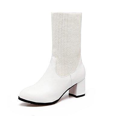 kekafu Damenschuhe Stricken Kunstleder Herbst Winter Mode Stiefel Ferse Runder Closed-Toe geteilten Gemeinsamen für Casual Kleid Weiß Schwarz, Weiß, EU/US6 36/UK4/CN 36