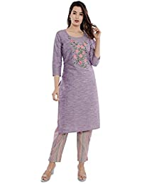 Sanganeri Kurti Womens Cotton Embroidred Kurta With Printed Pant Set (Purple)