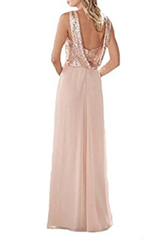 Vickyben Damen A-Linie langes Sequins Chiffon Abendkleider Ballkleid Brautjungfernkleid Cocktail Party kleid Mint