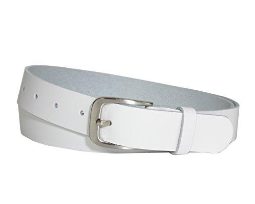 Vascavi Ledergürtel 100% echt Leder, Jeansgürtel, 3 cm breit und ca. 0.25 cm stark, Gürtel, Made in Germany, Anzugsgürtel, Hüftgürtel, (100 cm Gesamtlänge 110 cm, Weiß) Damen Weiß Leder
