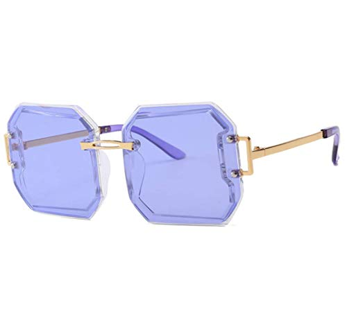 WYJW Unisex Frühling Sommer Übergroße Frau Quadrat Sonnenbrille Mode Männer Randlose Tönung Objektiv Gläser Flat Top Fashion Shades Retro UV400 Sonnenbrille Damen