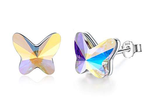 AMAYA Geschenk für Frauen Ohrringe Damen Mädchen Schmetterling Ohrringe Silber 925 Kinder-Ohrringe - Ohrstecker mit SWAROVSKI Kristallen Steine - weiß, rosa, blau, klein