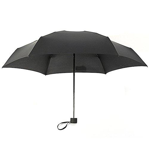 Woopower Paraguas Compacto de Viaje, Resistente al Viento, Mini Sol y Lluvia, sombrilla Ultraligera, se Adapta a Hombres y Mujeres, opción de Regalo, Negro, Tamaño Libre