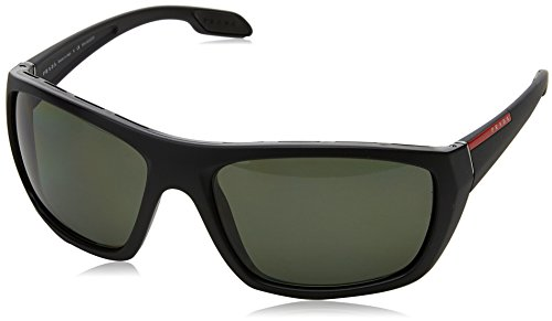 Prada Sport Herren 0PS06SS 1BO5X1 61 Sonnenbrille, Schwarz (Matte Black/Polargreen),