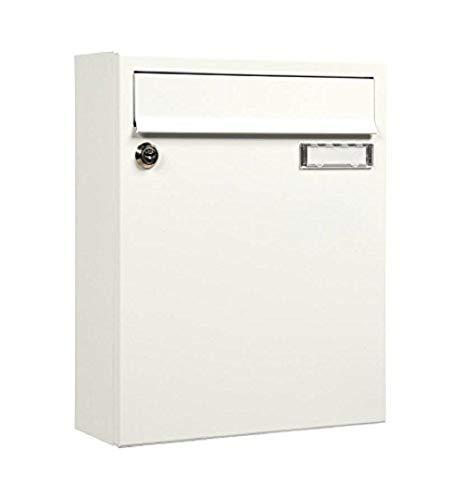 Preisvergleich Produktbild MEFA 133110 Briefkasten Sonate 133 (Postkasten + Namensschild; beschichteter Stahl; 33 x 26 x 100 cm) weiß