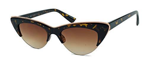Stil Jahre Brille Der Kostüm 50er - amashades Cat Eyes Sonnenbrille im Vintage Stil 50er 60er Jahre Halbbrille Halbrahmen Fasching Karneval Kostüm Theater C74 (Tortoise/Brown)