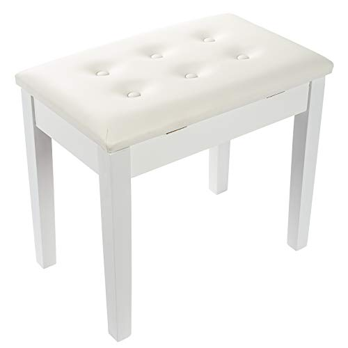 Grandma Shark Wooden Piano Stool Keyboard Bench with Storage, Luxury Soft PU Leather Padded Seat(White)