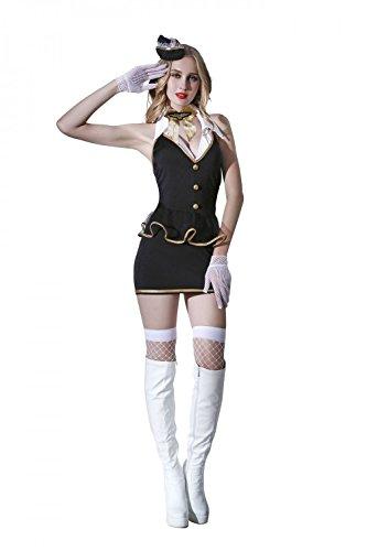 Damen 6 Teilig Mini Kleid Dessous Set Baby Dolls Stewardess Flugbegleiterin Kostüm Reizwäsche Lingerie Nachtwäsche Cosplay Club Wear mit Stewardessen (Doll Erwachsene Für Kostüme Baby)