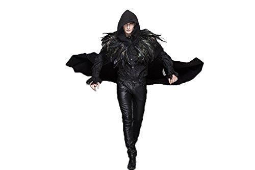 Devil Fashion Gothic Herren & Damen Retro Schwarz Lange Halloween Mäntel Mit Hut Steampunk Mode Umhang Mit Abnehmbaren Federn Schal (M)