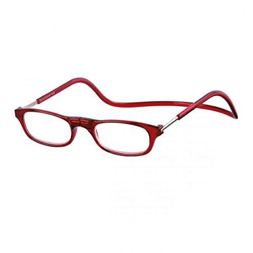 Benson Lesebrille mit Magnetverschluss für Sie & Ihn Lesehilfe Fertigbrille 3 Faben rot +3,0