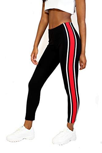 Shocknshop Red & White Side Stripe Ankle Length Women Girls Teenagers Leggings Black -(LEG18BLACK)