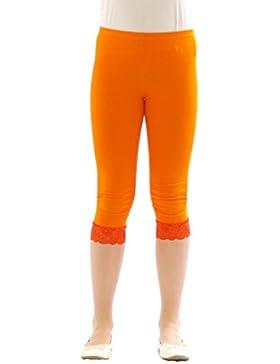 Ragazza Bambino Leggings Leggins Pantaloni Capri 3/4 corto con pizzo Cotone