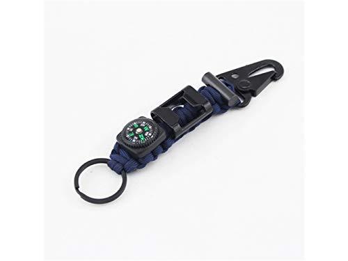 Plsonk Explorer Compass, Alliage de Zinc Multifonctions Outils Porte-clés Porte-clés Pinces Porte-clés pour Les Sports de Plein air (Bleu Marine) Outil de Navigation