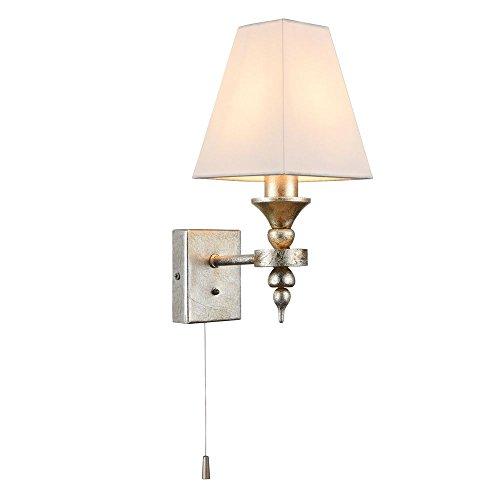 Moderne Art-Deco Wandleuchte, goldenes pattiniertes Metall, weißer Schirm aus Kunstseide, mit Zugschalter, exkl.E14 1x40W 220V