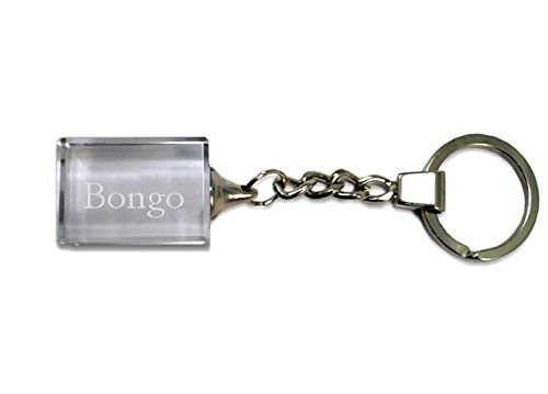 SHOPZEUS Eingravierter Glas-Schlüsselanhänger mit Aufschrift Bongo (Vorname/Zuname/Spitzname)
