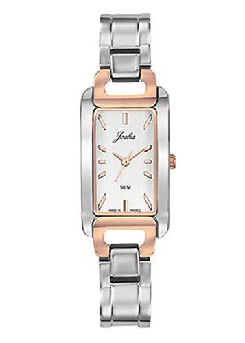Joalia - Montre Femme - H634M072 - Bracelet argenté - Boitier rectangulaire Bicolore - Cadran Argent