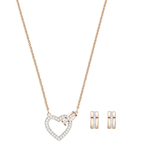 Swarovski set da donna lovely, bianco, placcato oro rosa