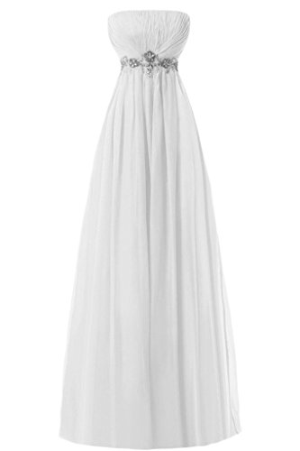 Sunvary Empire senza spalline in Chiffon con perline Sbuffi Evening Dresses Homecoming Gowns White