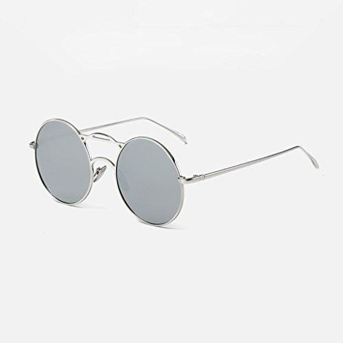 DX Polarisierende kreisförmige Herrenmode Mädchen Sonnenschutz Fahrbrille. Polarisierte Sonnenbrille (Farbe: Silberrahmen Wasser Silberlinse)